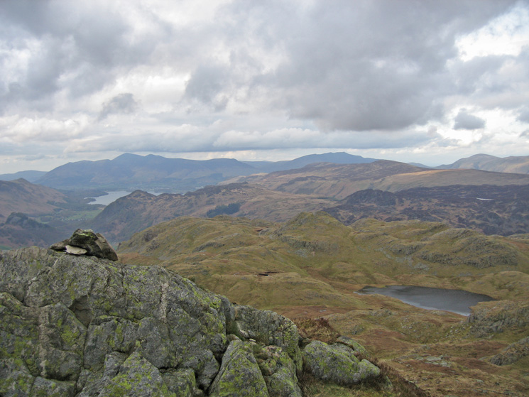 Looking back to Bessyboot with Skiddaw and Blencathra in the distance from Rosthwaite Cam