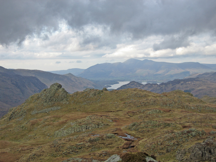 Looking back to Rosthwaite Cam with Derwent Water and Skiddaw in the distance from our ascent of Combe Door Top