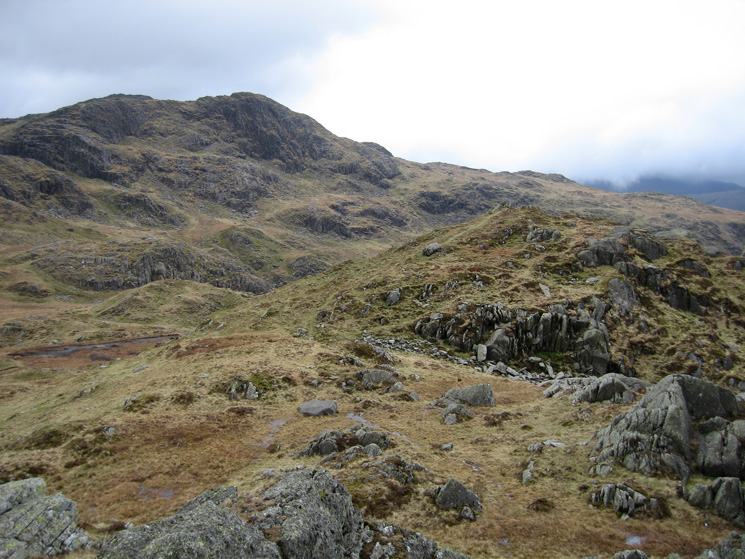 Rosthwaite Fell - Dovenest Crag top, the west top (and higher?) from the east with Combe Head beyond
