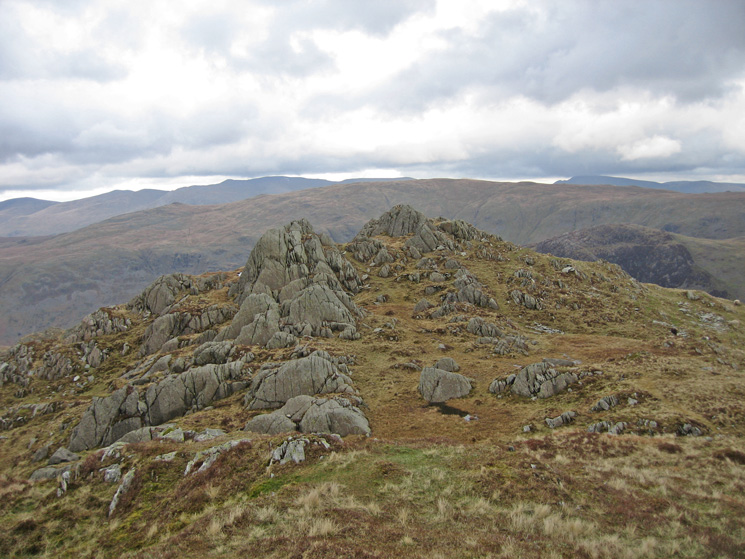 Rosthwaite Fell - Dovenest Crag top, the east top with Ullscarf behind from the west top