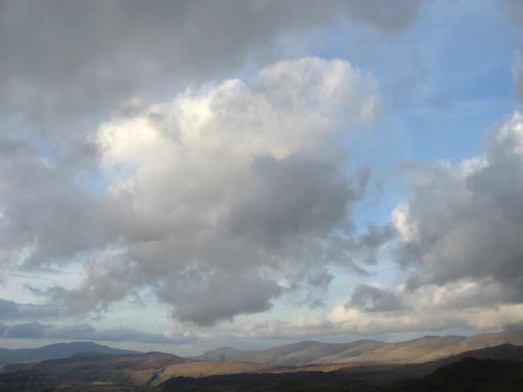 The Dodds get some sunshine, Blencathra in shadow on the left
