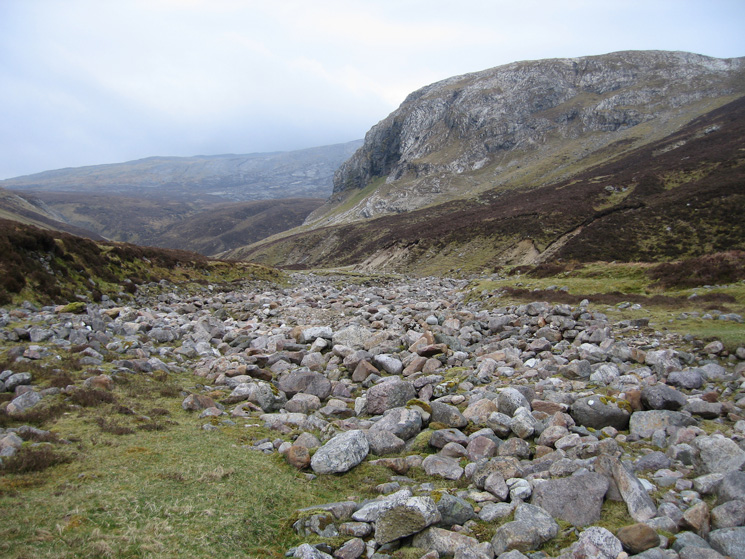 Looking towards the bone caves from the dry bed of Allt nan Uamh