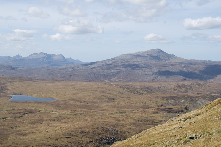 The view across to Canisp (right) and Cul Mor (left)