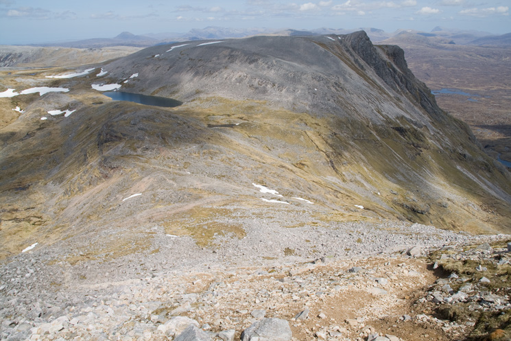 Looking back down the north ridge of Conival to the col
