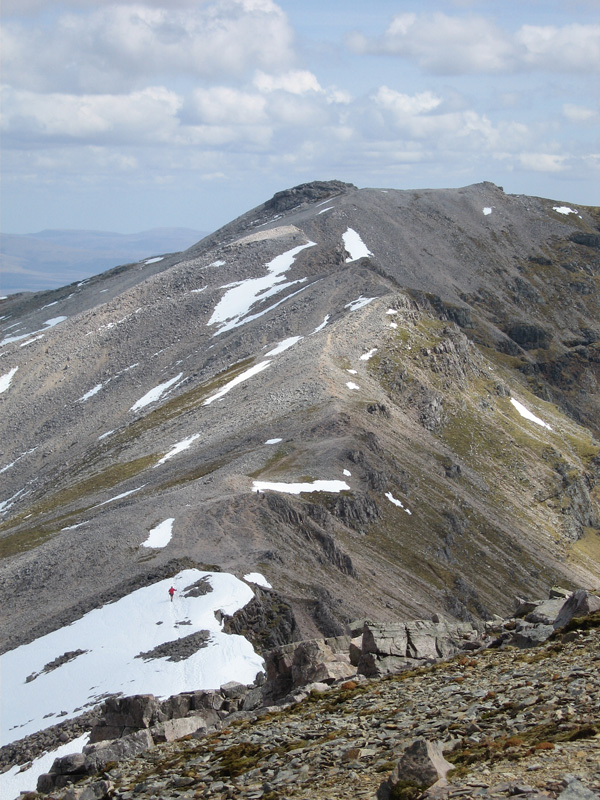 The ridge to Ben More Assynt from Conival, the red dot is me