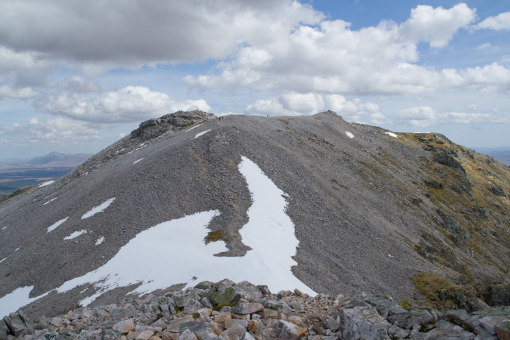Looking back to Ben More Assynt's summit as I head back to Conival
