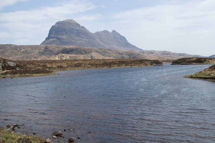 Suilven from by the River Kirkaig as we start the journey back to Inverkirkaig