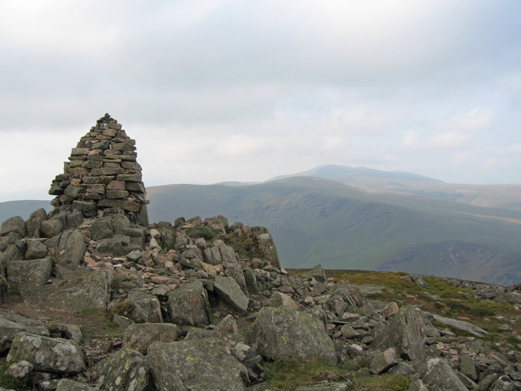 Carrock Fell summit with Blencathra beyond Bowscale Fell