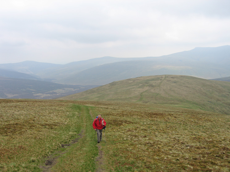 Ascending above Sale How. Carrock Fell is the fell in the far distance (left) and Blencathra is on the far right