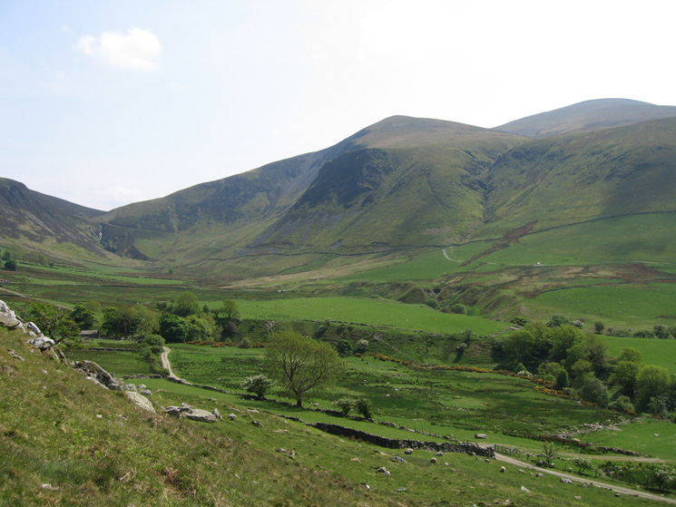 Whitewater Dash (left), Bakestall and Skiddaw from the side of Brockle Crag