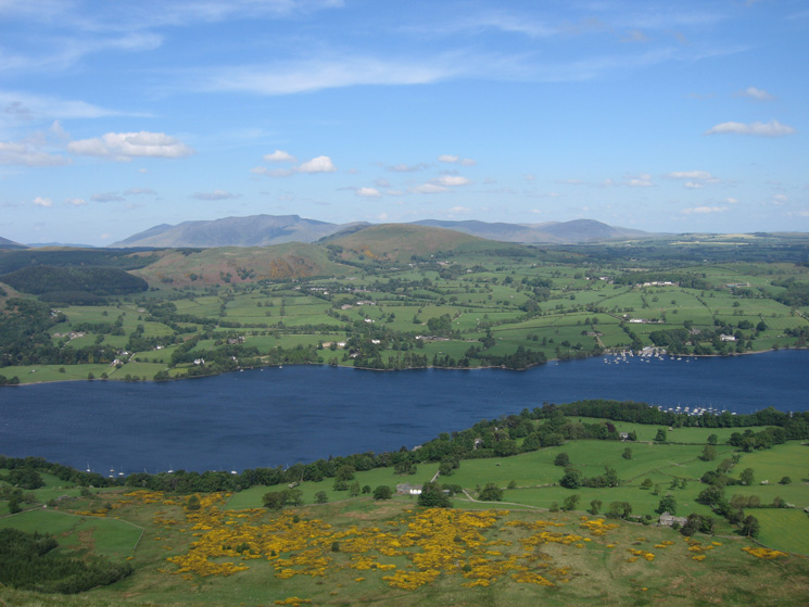 Looking across Ullswater to Little Mell Fell with Blencathra and the northern fells beyond