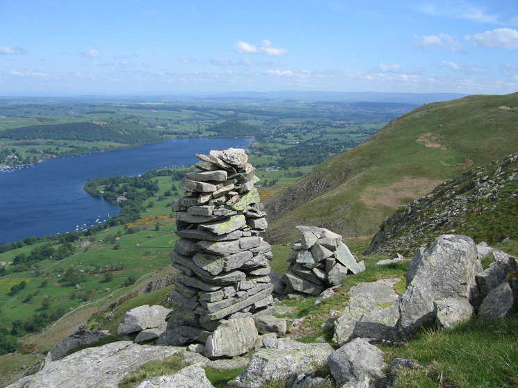 The newer and higher of the two pillars on Bonscale Pike