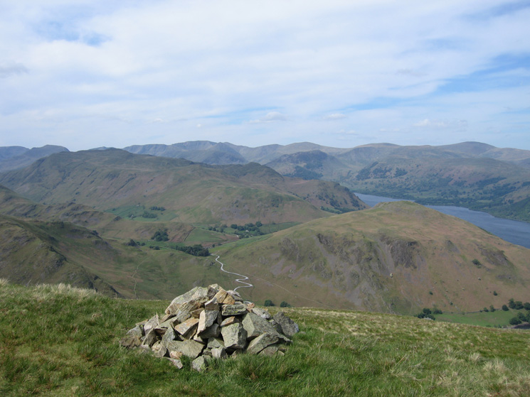 Looking over Place Fell and Hallin Fell to the eastern fells from Bonscale Pike's summit