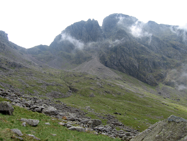 Mickledore and Scafell from Hollow Stones