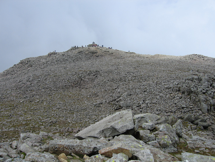 Scafell Pike's summit from the south peak, the large cairn was built in 1826