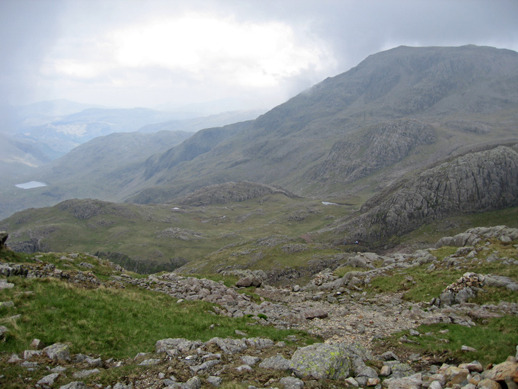 The Corridor Route leads all the way to Sty Head (Styhead Tarn is on the far left)