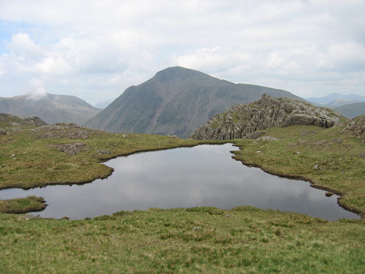 Looking across to Great Gable from the tarn on the Corridor Route near Middleboot Knotts