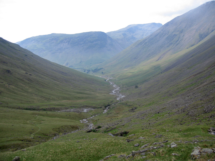 The valley route from Sty Head to Wasdale Head