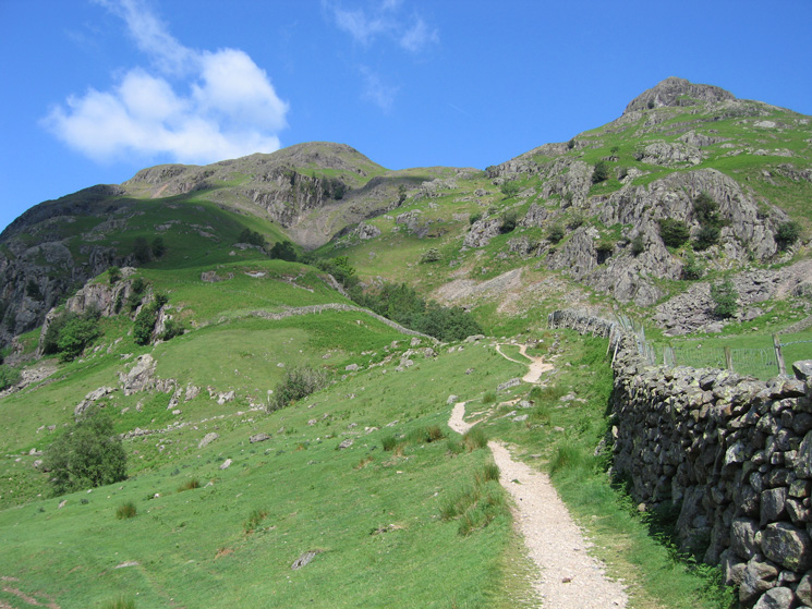 The way ahead, our route (Mark Gate) on the left, Dungeon Ghyll in the middle and Pike Howe on the right