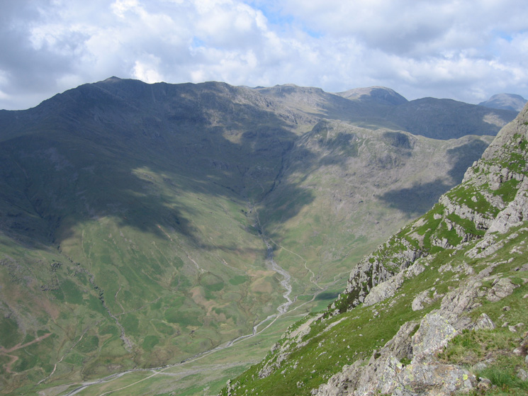 Mickleden below and Bowfell in shadow from Loft Crag