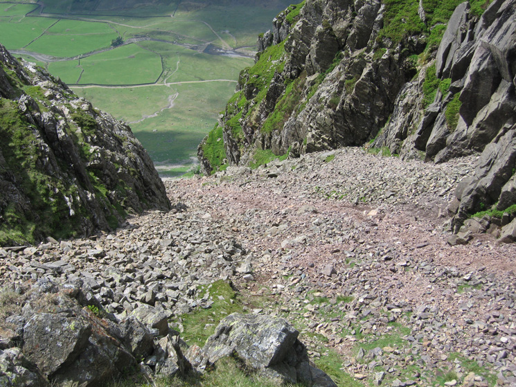 Looking down South Scree into the Langdale valley