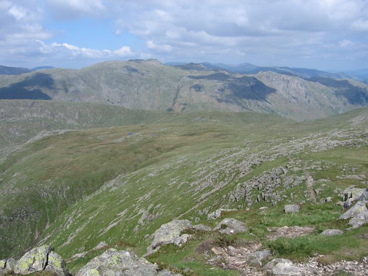 Martcrag Moor with Glaramara behind from Pike o'Stickle