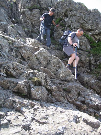 Descending off Pike o'Stickle