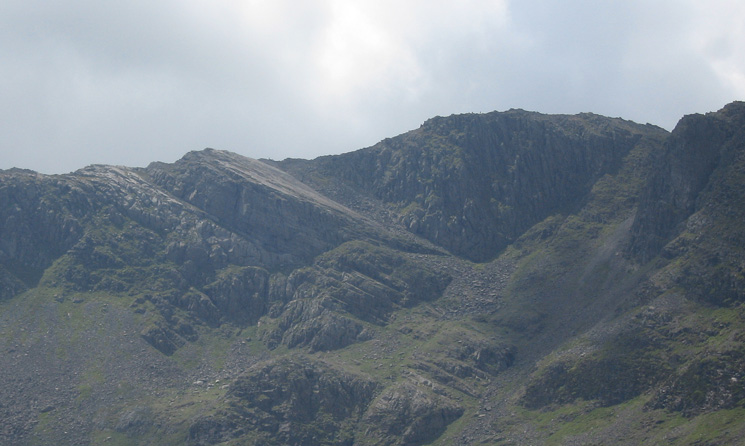 Zooming in on the Great Slab, Bowfell
