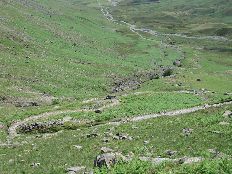 Looking down into Mickleden from the Stake Pass path