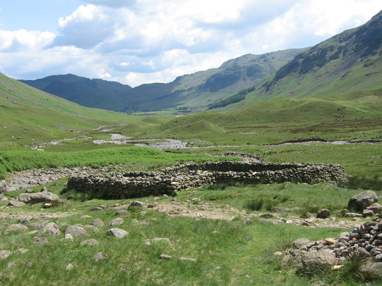 Mickleden from the sheepfold where the Rossett Gill and Stake Pass paths meet