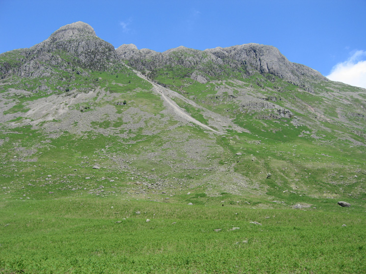 Looking up to Pike o'Stickle and Loft Crag from Mickleden