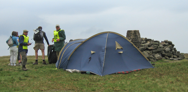 The checkpoint at Wild Boar Fell's summit trig point