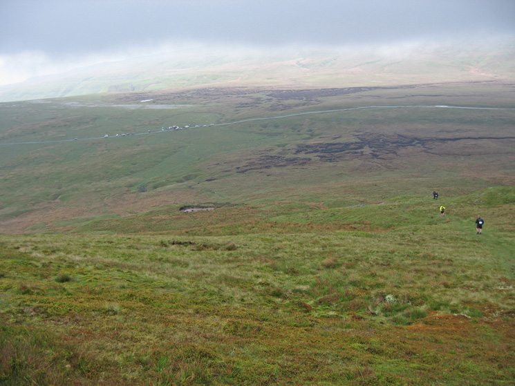 Heading down to the road at Tailbridge having traversed the summits of Mallerstang Edge in the cloud, wind and rain