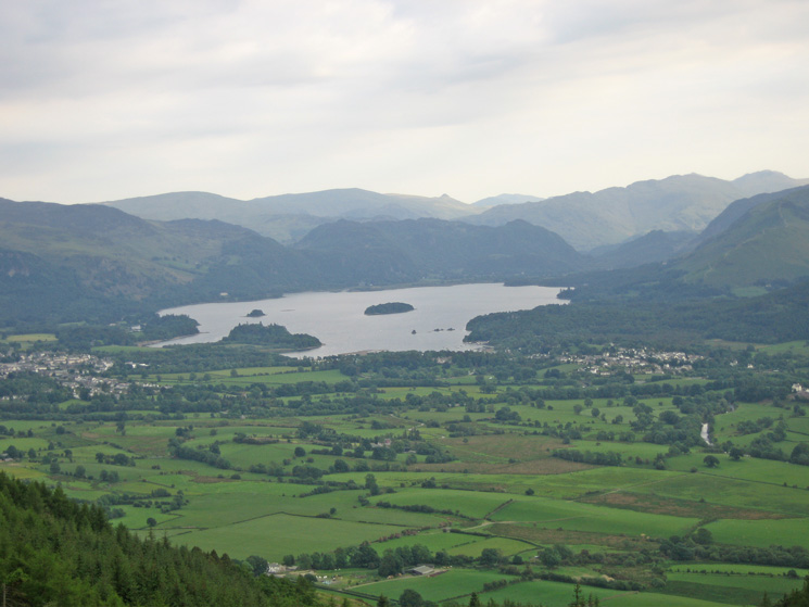 Derwent Water with Keswick on the left and Portinscale on the right