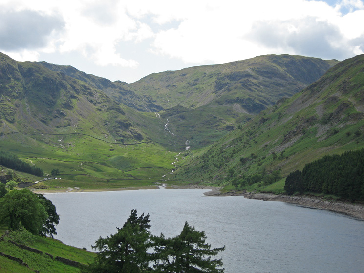 Mardale Head with Mardale Ill Bell's east ridge right of centre, taken on the drive up Haweswater