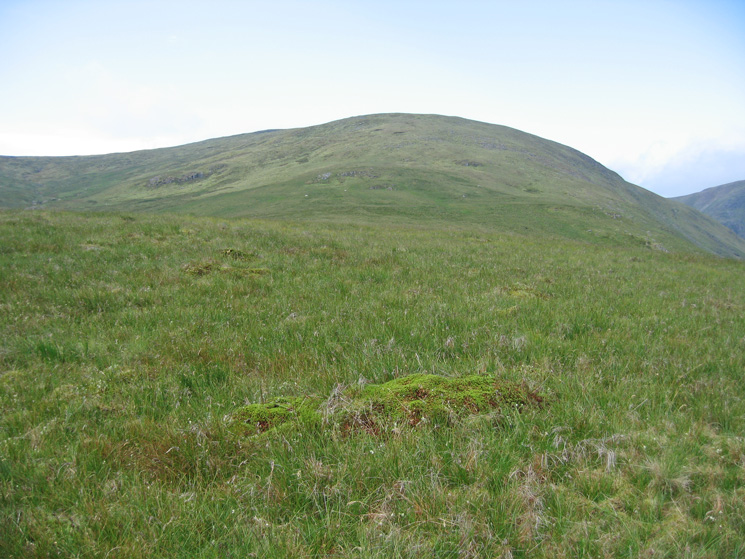 Branstree's north ridge, above the buildings the bracken ends and the angle eases