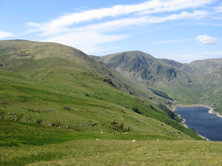 Branstree's north ridge, Harter Fell and Mardale Head from the Old Corpse Road