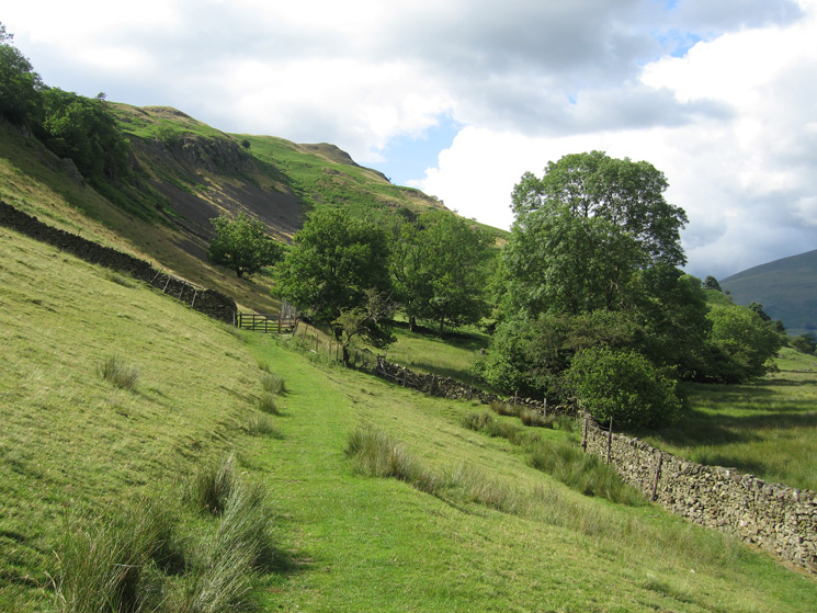 The path under High Rigg down the side of the valley