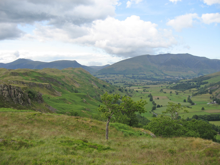 The High Rigg ridge with the Skiddaw fells behind, Blencathra and St John's in the Vale