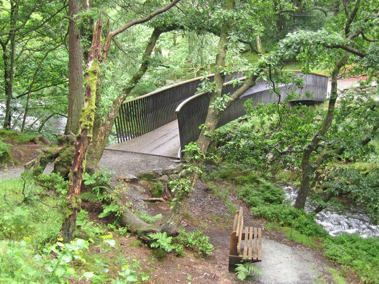 Woodburn Bridge (built Nov 2006) over the River Brathay above Skelwith Force