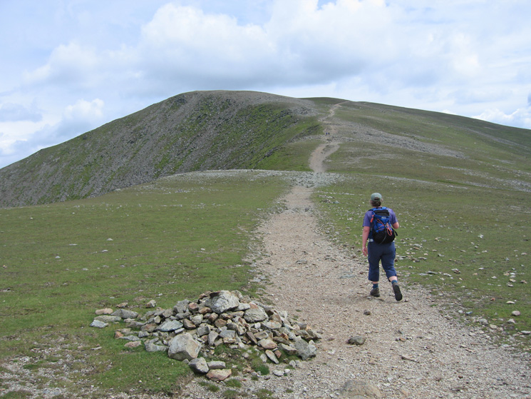 The path heads straight for Helvellyn missing Lower Man to its left