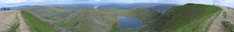 Easterly panorama from Helvellyn's summit