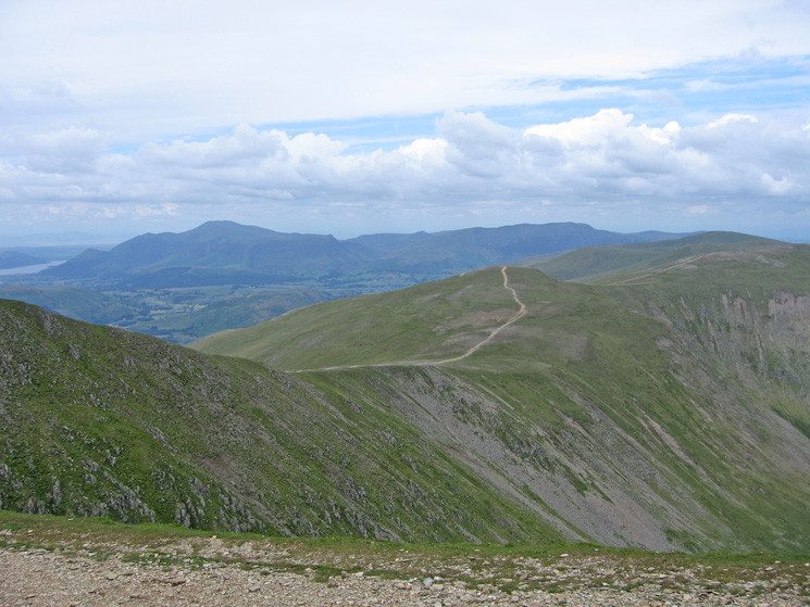 White Side, Raise and the Dodds with the Skiddaw fells and Blencathra in the distance