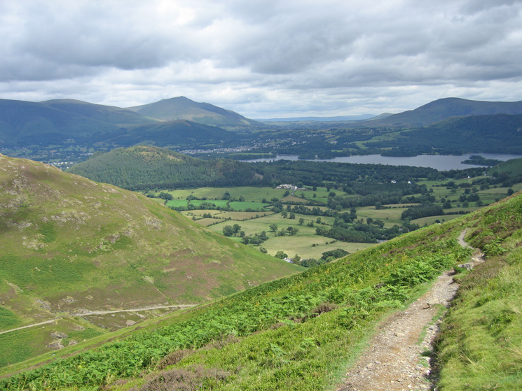 The wooded Swinside with Latrigg and Blencathra behind and Derwent Water with Clough Head behind