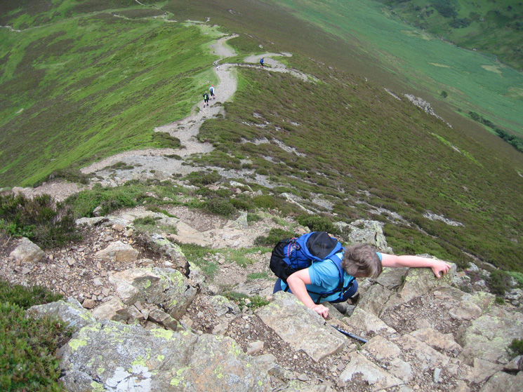 On the short scramble onto Causey Pike's summit