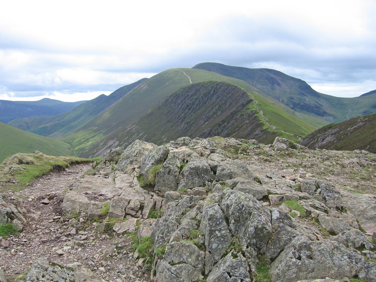 Scar Crags, Sail and Eel Crag from Causey Pike's summit