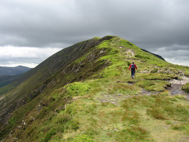 A sunny moment as we ascend Scar Crags