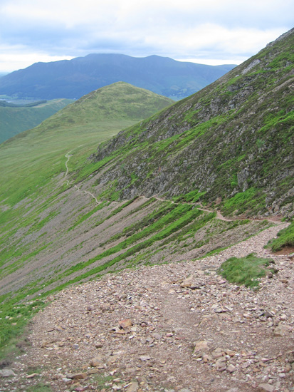 The path to High Moss from Sail Pass with the Skiddaw fells behind Outerside