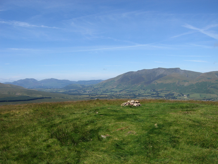 Eel Crag, Grisedale Pike and Blencathra from Great Mell Fell's summit