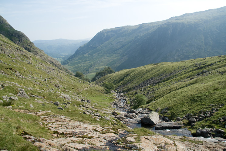 Looking down Styhead Gill